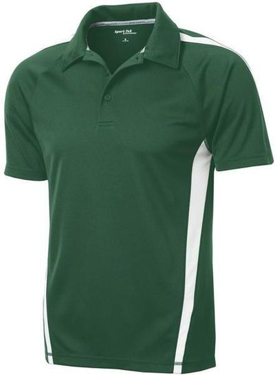 Sport Tek-Micro-Mesh Colorblock Polo-S-Forest Green/White-Thread Logic