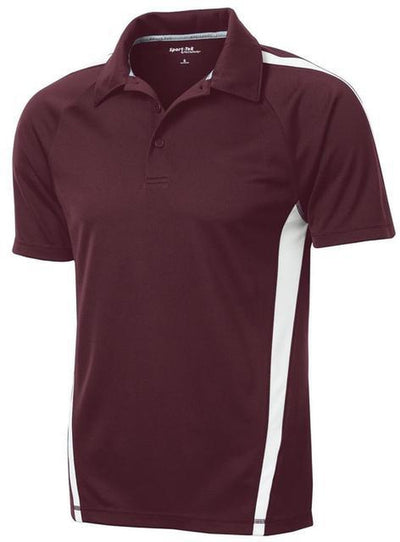 Sport Tek-Micro-Mesh Colorblock Polo-S-Maroon/White-Thread Logic