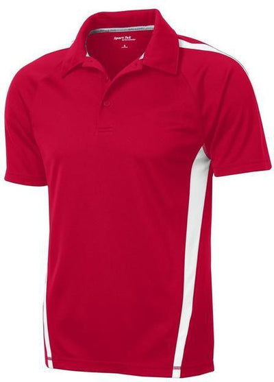 Sport Tek-Micro-Mesh Colorblock Polo-S-True Red/White-Thread Logic