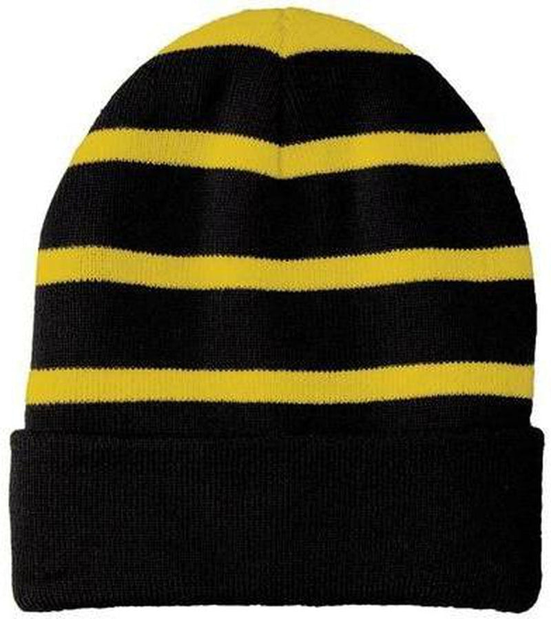 Sport Tek-Striped Beanie Solid Band-True Royal/White-Thread Logic