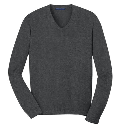 Port Authority-V-Neck Sweater-S-Charcoal Heather-Thread Logic