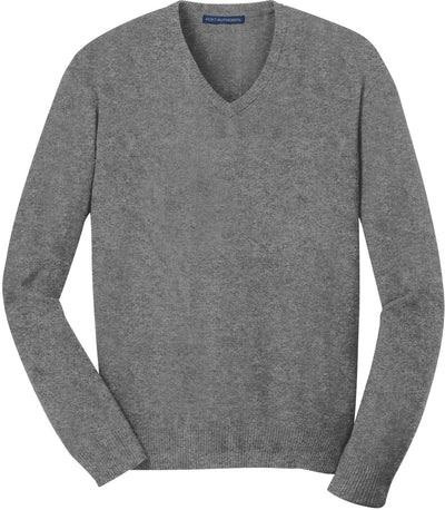 Port Authority-V-Neck Sweater-S-Heather Grey-Thread Logic
