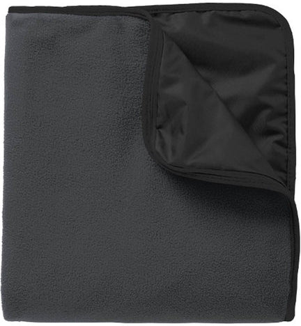 Port Authority-Fleece & Poly Travel Blanket-Black/Black-Thread Logic