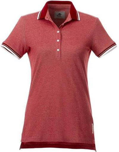 Ladies Roots73 LIMESTONE Polo-XS-Dark Red/White-Thread Logic