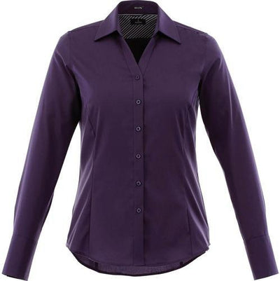 Elevate-Ladies Cromwell Long Sleeve Dress Shirt-XS-Dark Plum-Thread Logic