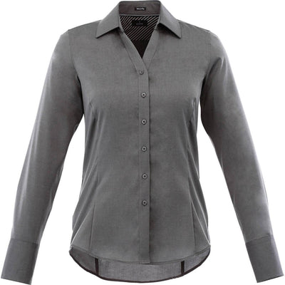 Elevate-Ladies Cromwell Long Sleeve Dress Shirt-XS-Grey Storm-Thread Logic