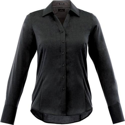 Elevate-Ladies Cromwell Long Sleeve Dress Shirt-XS-Black-Thread Logic