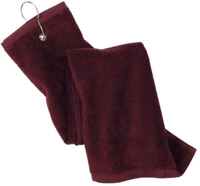 Port Authority-Grommeted Trifold Golf Towel-Maroon-Thread Logic
