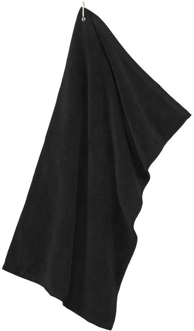 Port Authority-Grommeted Microfiber Golf Towel-Black-Thread Logic
