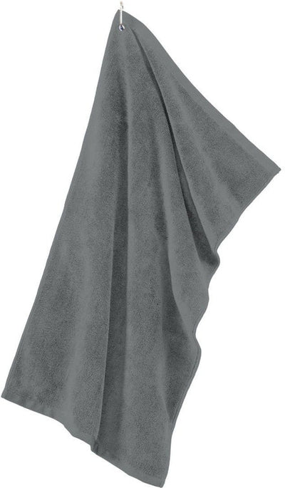 Port Authority-Grommeted Microfiber Golf Towel-Deep Smoke-Thread Logic