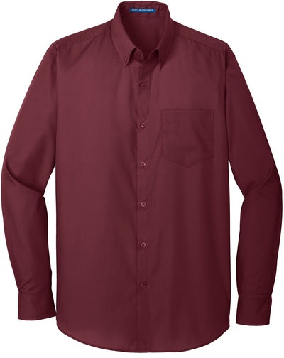 Port Authority-Carefree Poplin Shirt-S-Burgundy-Thread Logic