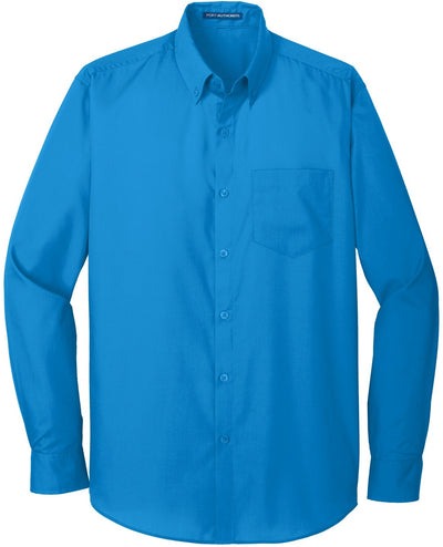 Port Authority-Carefree Poplin Shirt-S-Coastal Blue-Thread Logic