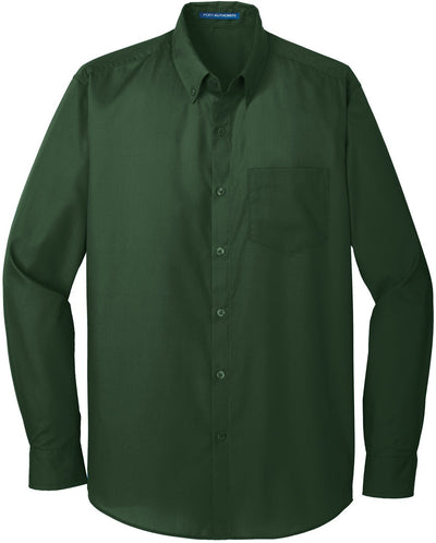 Port Authority-Carefree Poplin Shirt-S-Deep Forest-Thread Logic