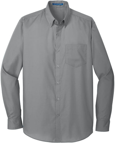 Port Authority-Carefree Poplin Shirt-S-Gusty Grey-Thread Logic