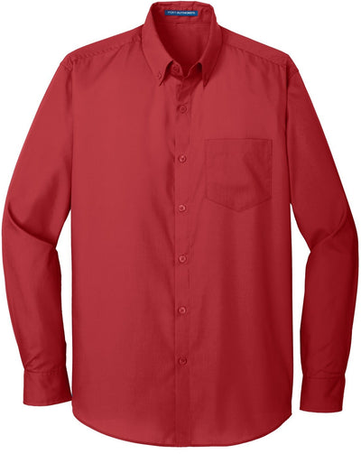 Port Authority-Carefree Poplin Shirt-S-Rich Red-Thread Logic