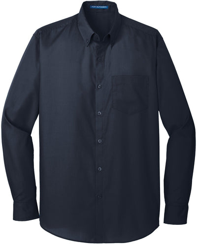 Port Authority-Carefree Poplin Shirt-S-River Blue Navy-Thread Logic