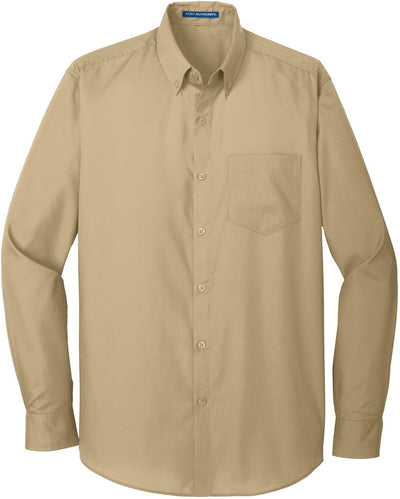 Port Authority-Carefree Poplin Shirt-S-Wheat-Thread Logic