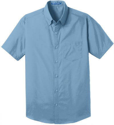 Port Authority-Short Sleeve Carefree Poplin Shirt-S-Carolina Blue-Thread Logic