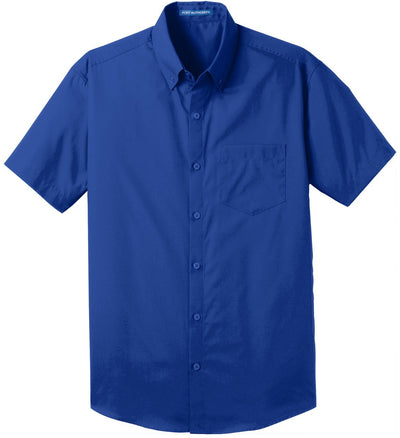 Port Authority-Short Sleeve Carefree Poplin Shirt-S-True Royal-Thread Logic