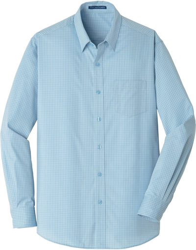 Port Authority-Micro Tattersall Easy Care Shirt-S-Heritage Blue/Royal-Thread Logic