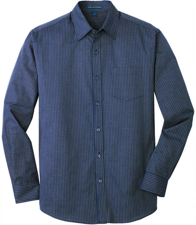 Port Authority-Micro Tattersall Easy Care Shirt-S-Navy/Heritage Blue-Thread Logic
