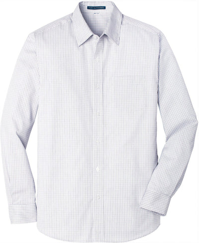 Port Authority-Micro Tattersall Easy Care Shirt-S-White/Dark Grey-Thread Logic