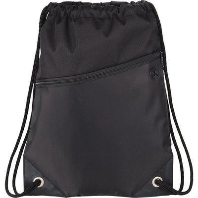 Elevate-Deluxe Sport Drawstring Sportspack w/ Earbud Port-Black-Thread Logic
