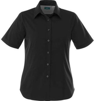 Elevate-Ladies STIRLING Short Sleeve Dress Shirt-XS-Black-Thread Logic