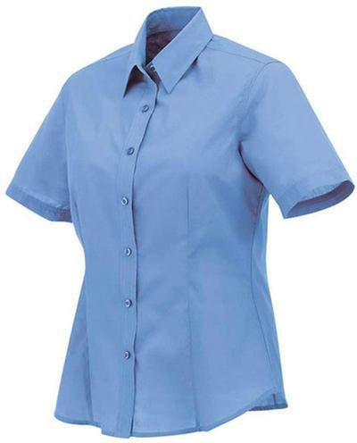 Elevate-Ladies COLTER Oxford Short Sleeve Dress Shirt-XS-Blue-Thread Logic