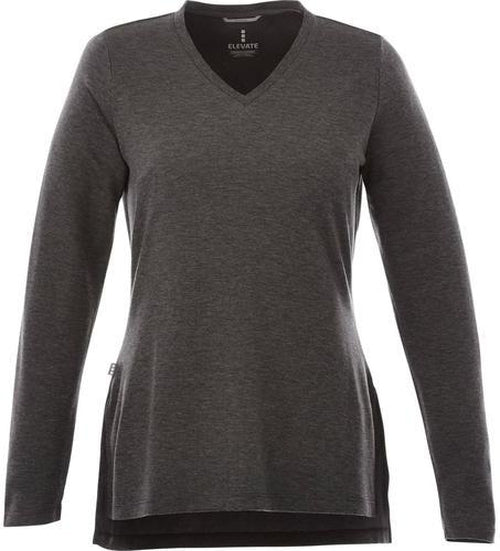 Elevate-Ladies BROMLEY V-Neck Sweater-XS-Heather Dark Charcoal-Thread Logic
