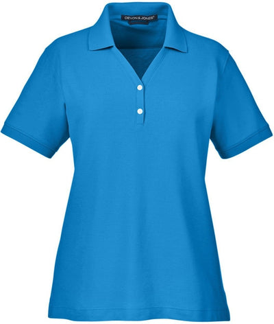 Devon & Jones Ladies Pima Pique Short-Sleeve Y-Collar Polo