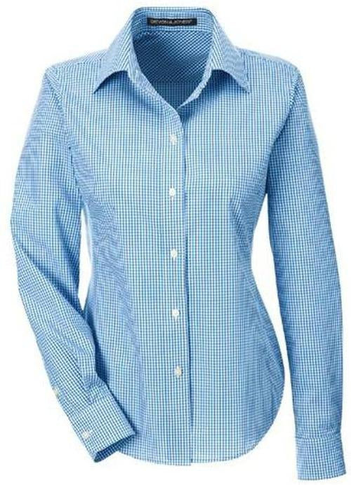 Devon&Jones-Ladies Gingham Check Dress Shirt-S-French Blue-Thread Logic