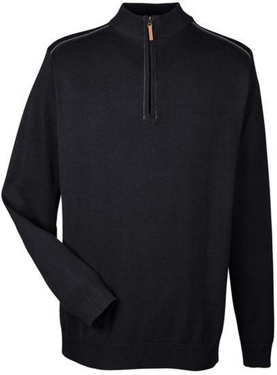 Devon&Jones-Manchester Fully-Fashioned Half-Zip Sweater-S-Black/Graphite-Thread Logic