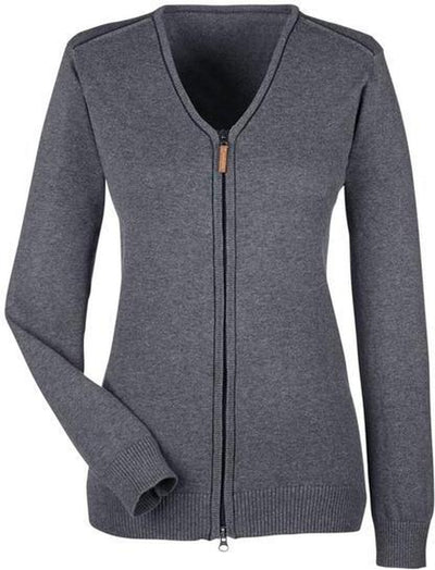 Devon&Jones-Manchester Ladies Full-Zip Sweater-XS-Dark Grey/Black-Thread Logic