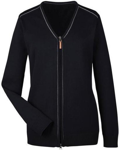 Devon&Jones-Manchester Ladies Full-Zip Sweater-XS-Black/Graphite-Thread Logic