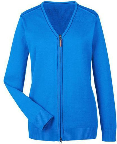 Devon&Jones-Manchester Ladies Full-Zip Sweater-XS-French Blue/Navy-Thread Logic