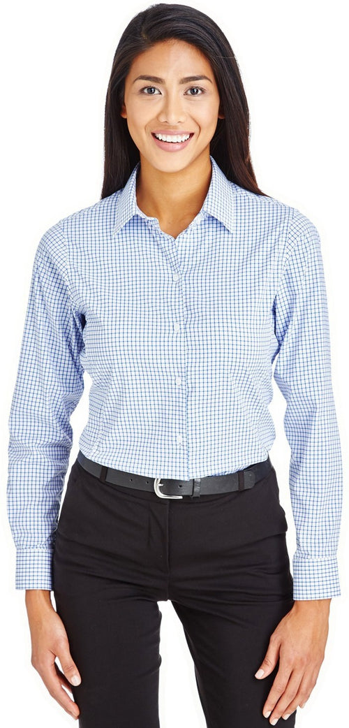 Devon & Jones CrownLux Performance Ladies Micro Windowpane Shirt