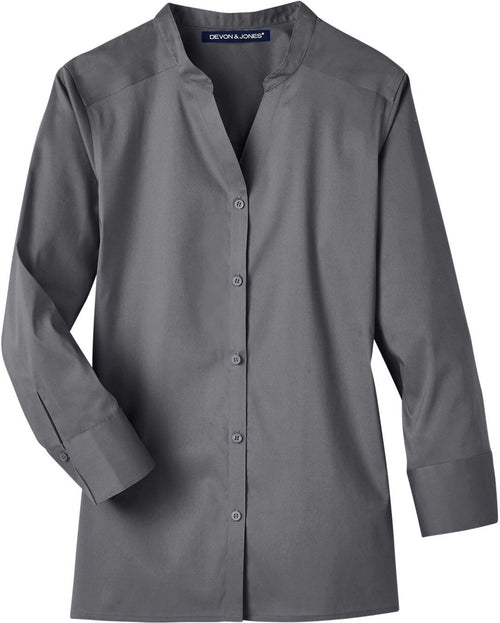 Devon & Jones Ladies Crown Stretch Broadcloth 3/4 Sleeve Blouse