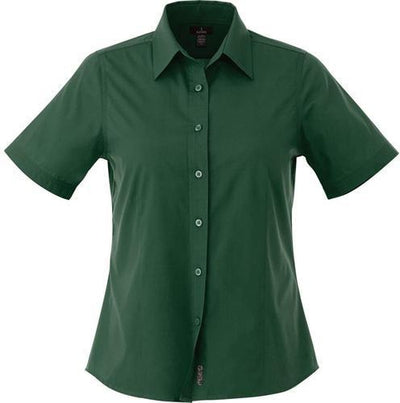 Elevate-Ladies COLTER Oxford Short Sleeve Dress Shirt-XS-Forest Green-Thread Logic