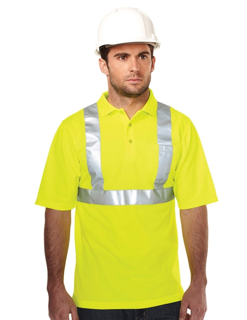 Tri Mountain-Boundary Reflective Polo-S-Lime Green-Thread Logic