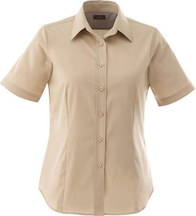 Elevate-Ladies STIRLING Short Sleeve Dress Shirt-XS-Desert Khaki-Thread Logic