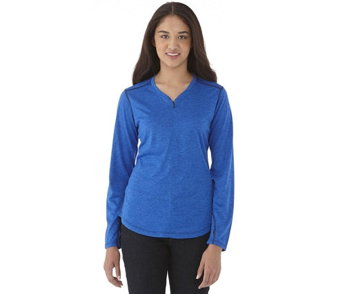 Elevate-Ladies QUADRA Long Sleeve Pullover-XS-Heather Dark Charcoal-Thread Logic