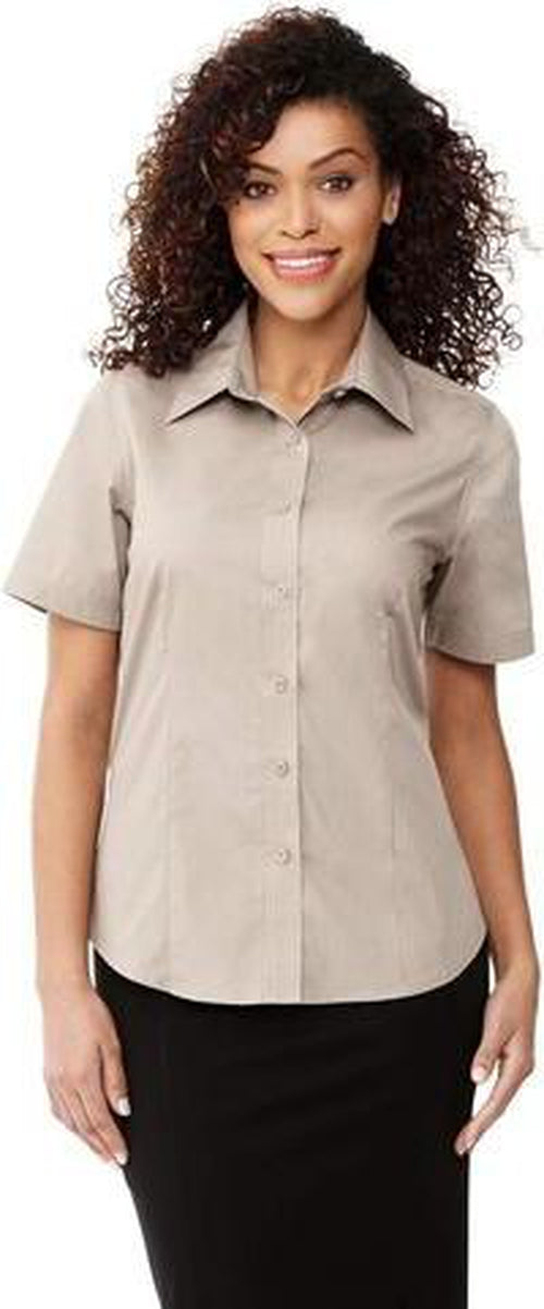 Elevate-Ladies COLTER Oxford Short Sleeve Dress Shirt-XS-Black-Thread Logic no-logo