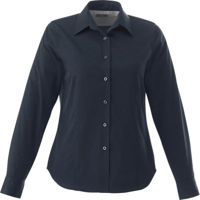 Elevate-Ladies WILSHIRE Long Sleeve Dress Shirt-XS-Navy-Thread Logic