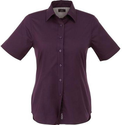 Elevate-Ladies STIRLING Short Sleeve Dress Shirt-XS-Dark Plum-Thread Logic