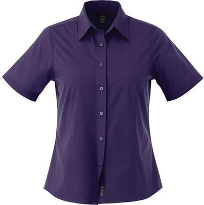 Elevate-Ladies COLTER Oxford Short Sleeve Dress Shirt-XS-Dark Plum-Thread Logic