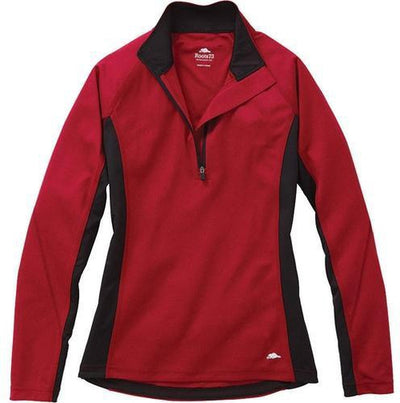 Ladies Roots73 Birchlake Tech 1/4 Zip-XS-Dark Red-Thread Logic