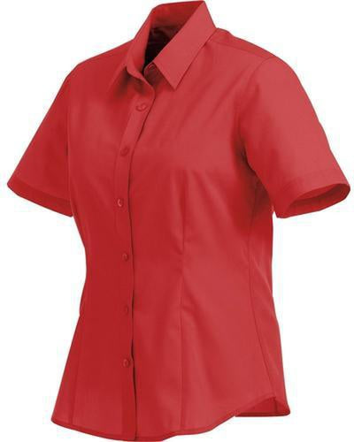 Elevate-Ladies COLTER Oxford Short Sleeve Dress Shirt-XS-Team Red-Thread Logic
