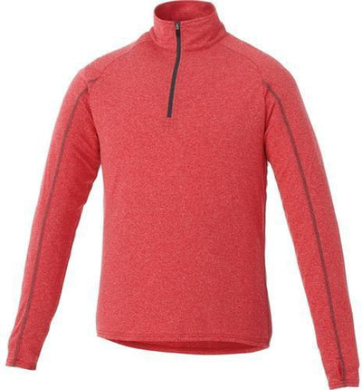 Elevate-TAZA Quarter Zip-S-Team Red Heather-Thread Logic no-logo