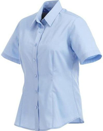 Elevate-Ladies COLTER Oxford Short Sleeve Dress Shirt-XS-Sky-Thread Logic